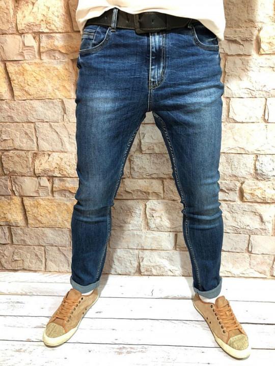 Чоловічі джинси темно-сині завужені A0214 | JEANS 24