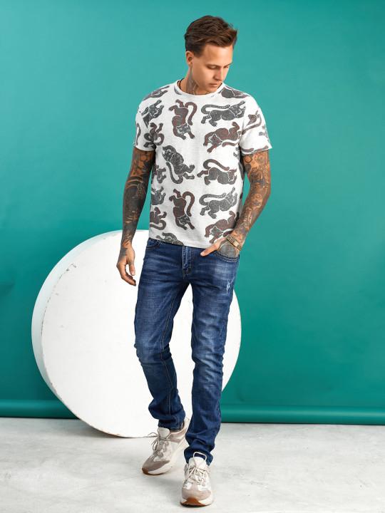 замовити Чоловічі джинси сині з царапками B982-2 | JEANS24