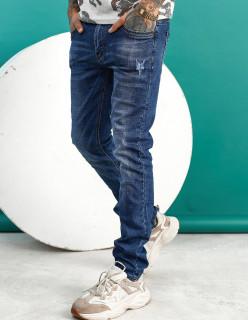 Чоловічі джинси сині з царапки B982-2
