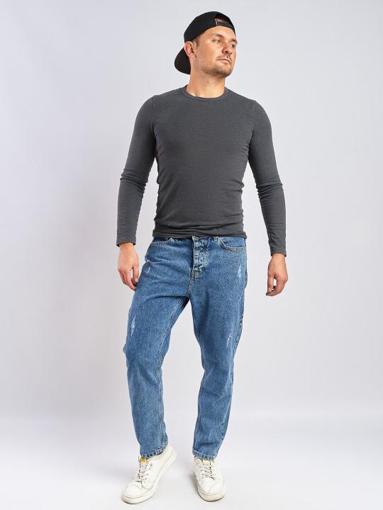 Мужские джинсы MOM бойфренд синие с потертостями 5162 фото