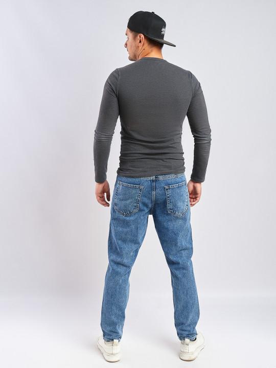 фото  3  Мужские джинсы MOM бойфренд синие с потертостями 5162 - JEANS24   3