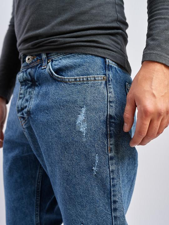 Мужские джинсы MOM бойфренд синие с потертостями 5162 выбрать