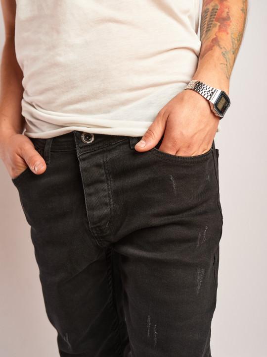 фото Джинсы черно серые зауженные с царапками 2266 в JEANS24