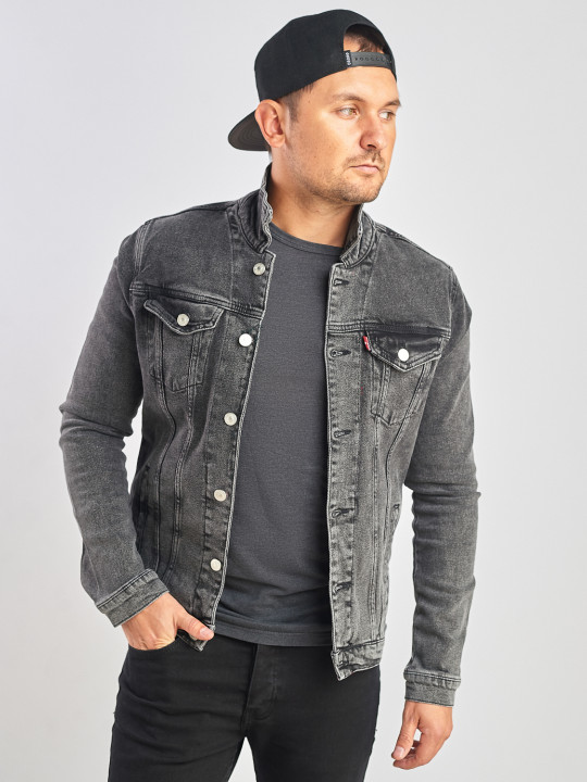 Джинсовая куртка винтажная  серого цвета фото