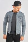 Джинсова куртка колір графіт сірий фото