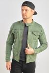 Джинсова куртка приталена колір хакі фото
