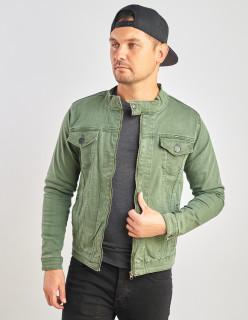 Джинсова куртка приталена колір хакі