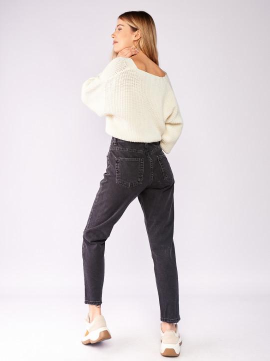 фото  1  Сірі джинси вінтаж мом 7028 - JEANS24