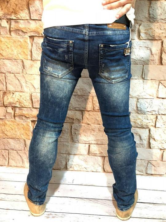 фото  1  Мужские джинсы синие с теркой 2048 - JEANS 24   1
