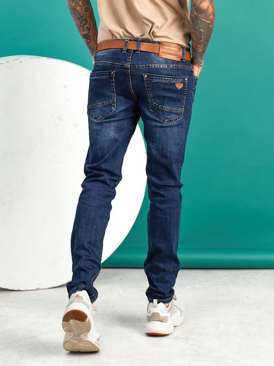 Мужские джинсы темно-синие по ноге 1558 купить