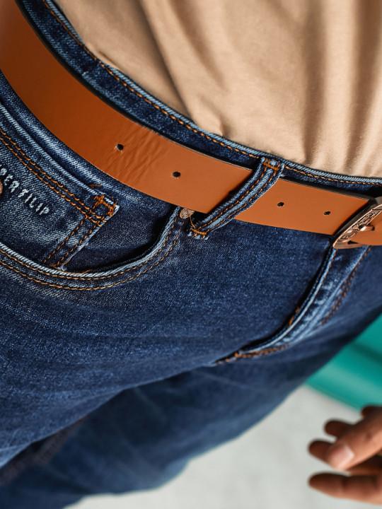 заказать Мужские джинсы темно-синие по ноге 1558