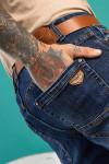 задний карман Мужские джинсы темно-синие по ноге 1558