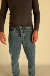 Мужские джинсы MOM бойфренд синие с потертостями 5162