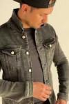 Джинсовая куртка винтажная  серого цвета